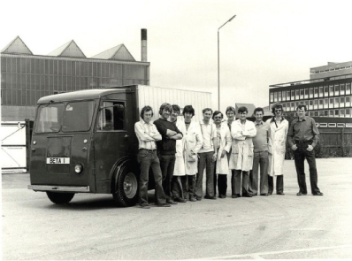 Meet the team: the vehicle used to test the sodium sulphur battery at British Rail. Sudworth fifth from the left, Roger Tilley, sixth, and Hamish Duncan far right.