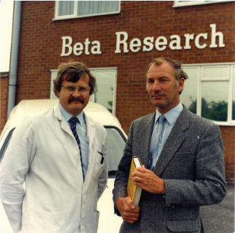 Tilley and Sudworth outside the Beta Research headquarters.